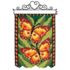 Celebrate the harvest and enjoy the fruits of your labors with an autumn-themed banner. Pony Bead Patterns, Peyote Patterns, Beading Patterns, Stitch Patterns, Pony Bead Crafts, Beaded Crafts, Beaded Ornaments, Beading Tools, Beading Projects