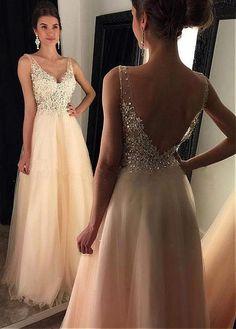 Bridesfamily Pretty Tulle V-neck Neckline Full-length A-line Prom Dress With Beadings #promdresses