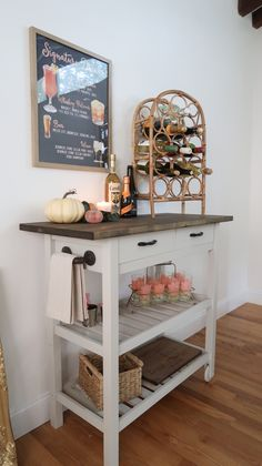 Ikea Kitchen Cart, Ikea Bar Cart, Kitchen Decor, Fall Living Room, Home And Living, Living Room Decor, Ikea Furniture, Furniture Projects, Diy Dining Room Table