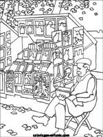 line drawings of Parisian scenes to print and color -- famous monuments and buildings, oui, but also the toy sailboats in the Jardin de Luxembourg, a typical café, a Morris column, a bouquiniste...
