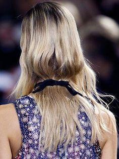 Romantic Hair - Ribbon-tied hair at Mary Katrantzou Spring 2016 | allure.com