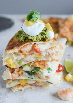 Chipotle Beer Shrimp Quesadillas with Spicy Guac | howsweeteats.com