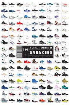 100年のスニーカー変遷 134足 ポスター a-visual-compendium-of-sneakers-poster-by-pop-chart-lab