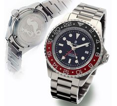Steinhart OCEAN Forty-Four GMT BLUE-RED Diver Watch - Another example of a great hommage. Steinhart watches have a great reputation. Best Looking Watches, Cool Watches, Men's Watches, Black Watches, Amazing Watches, Wrist Watches, Sport Watches, Steinhart Ocean One, Steinhart Watch