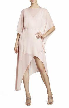 Suzy Draped Asymmetrical Silk Dress | BCBG