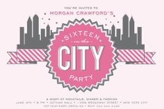 Hens Invite Inspo but with a Melbourne skyline and 'Bride & Hens In The City'