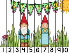 Spring Number puzzles with gnomes! Counting 1-20 is fun with 3 styles of number puzzles. PlayLearnTeach $