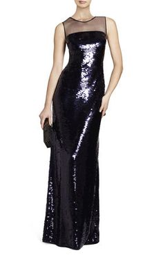Black Sequin Evangeline Paillette Gown $300