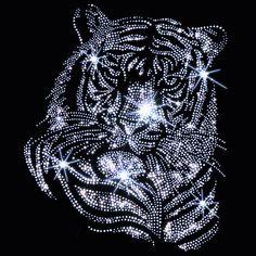 Wunderschöner Strass Bügelbild Tiger in der Farbe Crystal im Shop: www.strassbuegelbilder.com