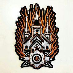 Church Burn Burning Traditional Old School Tattoo