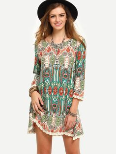 Online shopping for Multicolor Print Vintage Three Quarter Sleeve Dress from a great selection of women's fashion clothing & more at MakeMeChic.COM.