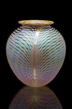 "Round vase with lip, ""TW"" pattern Craig & Anny Zweifel Glass Vessel, Glass Ceramic, Mosaic Glass, Fused Glass, Stained Glass, Round Vase, Art Of Glass, Objet D'art, Modern Glass"