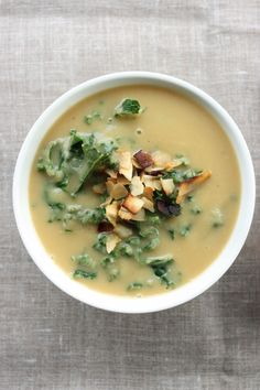Roasted Rutabaga and Parsnip Soup with Kale and Toasted Coconut (vegan, gluten-free) | Choosing Raw