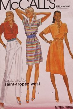 Vintage Sewing Pattern1980s Misses Dress or Top or Pants McCall's 7526 Size 10