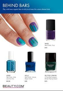 Fun DIY Nails for spring! Play with loose organic lines in rich jewel tones for a more abstract look. For more DIY nails, visit Beauty.com
