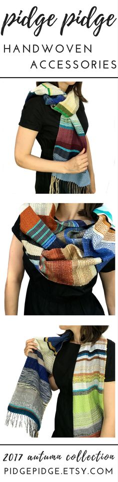 New one of a kind handwoven scarf designs coming soon from pidge pidge. Fall collection launches September 7th. Newsletter subscribers get early access preview weekend August 31st. Join in: hellopidgepidge.com #handwovenscarf #fallfashion