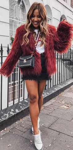 incredible fall outfit | red fur jacket + tee + bag + denim skirt + boots #winterfashion #outfits