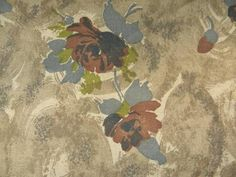 50s vintage rayon or rayon/cotton fabric, roses floral print in brown