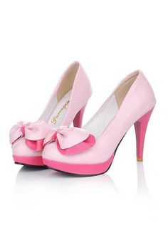 New Pink Round Toe Stiletto Bow Sweet High-Heeled Shoes 710f0a380a0e