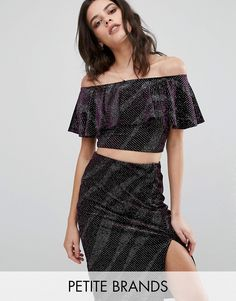 Buy it now. New Look Petite Sparkle Ruffle Crop Top - Purple. Petite top by New Look Petite, Stretch knitted fabric, Glitter finish, Bardot neckline, Off-the-shoulder design, Ruffle overlay, Cropped length, Regular fit - true to size, Machine wash, 91% Polyester, 9% Elastane, Our model wears a UK 8/EU 36/US 4. ABOUT NEW LOOK PETITE High Street heroes New Look introduce New Look Petite ; a trend-led hit of fast fashion in whittled down sizes perfect for smaller frames. Midi dresses, jeans…