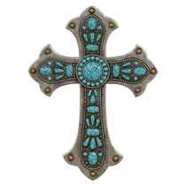 Turquoise Stone Wall Cross - A Black Forest Decor Exclusive - Turquoise stones, antiqued metalwork and gold studs are replicated in painted polyresin on this beautiful cross wall hanging. Mosaic Crosses, Wooden Crosses, Wall Crosses, Crosses Decor, Wood Wall Design, Western Wall Decor, Horse Bedding, Christian Crafts, Christian Art