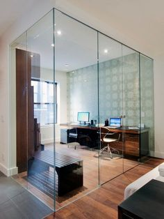 """Quiet room - sound barrier, not visual barrier. Daylight flows through glass walls."" Perfect for a home office, but would it really block sound effectively? Work Office Design, Office Interior Design, Office Interiors, Interior Ideas, Grey Interior Doors, Glass Office, Office With Glass Walls, Modular Shelving, Deco Design"