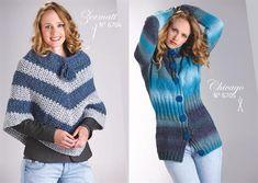 Réalisation tricot poncho mailles bleues grises rayé femme Zermatt par Lammy Yarns