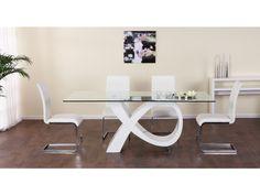 Table à manger ETREINTE - 8 couverts - MDF et verre trempé - Blanc