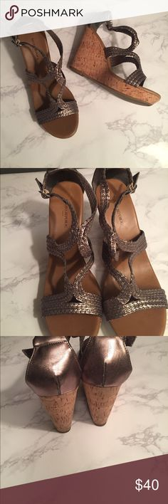 EUC Banana Republic metallic wedges sz9 Banana Republic metallic wedges EUC so marks, scratches - minimal signs of wear on soles. Beautiful comfortable shoes for summer in perfect neutral bronze metallic tone. Banana Republic Shoes Wedges