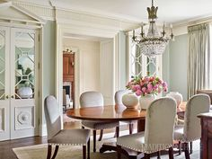 Ideas for Decorating an Elegant Dining Room Traditional Home Magazine, Traditional Decor, Traditional House, Traditional Dining Rooms, Traditional Kitchens, Beautiful Dining Rooms, Atlanta Homes, Dining Room Inspiration, House And Home Magazine