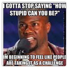 "Kevin Hart Quotes | ""I gotta stop saying 'How stupid can you be?' I'm beginning to feel like people are taking it as a challenge."" - Kevin Hart"