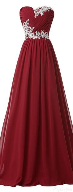 Grace Strapless, Long, Evening Gown, with Appliques, prom dress, sweetheart