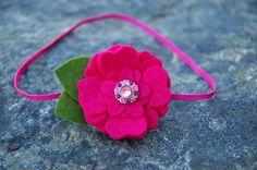 Baby Felt Flower Headband . Rhinestone Button and Fuchsia Wool Felt Flower Headband For Newborn Baby