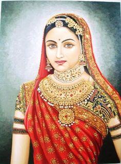 Who was Jodha Bai? Mughal Paintings, Tanjore Painting, Indian Art Paintings, Indiana, Indian Women Painting, Rajasthani Painting, Krishna Art, Traditional Paintings, Portraits