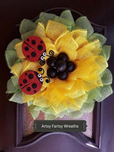 Handmade wreaths, decor, tees, & more for any occasion by ArtsyFartsyWreaths Paper Mesh, Monogram Painting, Summer Wreath, Spring Wreaths, Great Mothers Day Gifts, Yellow Paper, Fall Deco, Sunflower Wreaths, Great Housewarming Gifts