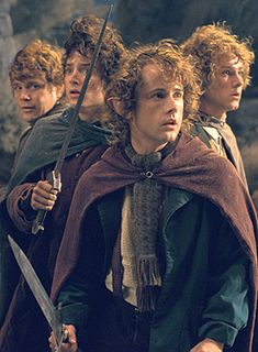 Samwise Gamgee, Frodo Baggins, Meriadoc (Merry) Brandybuck, and Peregrin (Pippin) Took