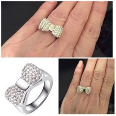 Gorgeous!!  Austrian Crystal Platinum Plated Ring Gorgeous!!  Austrian Crystal Platinum Plated Bow Ring Size 7 or 9 New Jewelry Rings