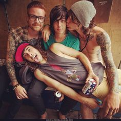 Matty Mullins of Memphis May Fire, Kellin Quinn of Sleeping With Sirens, Beau Boken of Bless the Fall, and Vic Fuentes of Pierce the Veil.