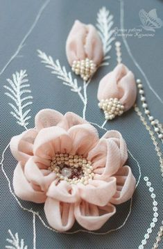Wonderful Ribbon Embroidery Flowers by Hand Ideas. Enchanting Ribbon Embroidery Flowers by Hand Ideas. Tambour Embroidery, Couture Embroidery, Embroidery Fashion, Hand Embroidery, Embroidery Supplies, Embroidery Ideas, Eyebrow Embroidery, Embroidery Books, Flower Embroidery Designs