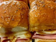 """These sweet and savory Sticky Ham Sandwiches were an instant hit at our house! From Today Food Contributor Siri Daly's new cookbook, """"Siriously Delicious! Appetizer Sandwiches, Appetizers, Deli Sandwiches, Ham Sliders, Deli Ham, Wraps, New Cookbooks, Football Food, Ham And Cheese"""