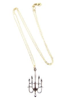 Long Silver & Gold Chandelier Necklace