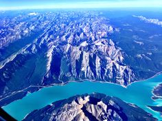 Flying over the Alberta Rockies, Abraham Lake, with @Westjet, #YVRCanada pic o the month!
