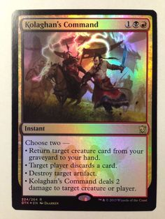 Magic the Gathering: Foil Kolaghan's Command from the set Dragons Of Tarkir NM/M #WizardsoftheCoast #mtg