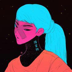 block girl illustration by lucas mendon a Sparrow Volume Pushead Character Inspiration, Character Art, Arte Sketchbook, Girls Anime, Wow Art, Cyberpunk, Art And Illustration, Girl Illustrations, Aesthetic Art