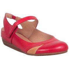 Miz Mooz Women's Dawson Mary Jane Flat ($90) ❤ liked on Polyvore featuring shoes, flats, red, miz mooz flats, mary-janes, red mary janes, mary jane shoes flats and mary jane sho