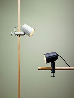 Lampe à pincer Noc WH / Base étau Gris - Hay