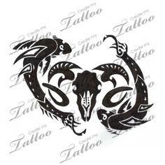 Marketplace Tattoo Pisces meets Aries #6321 | CreateMyTattoo.com