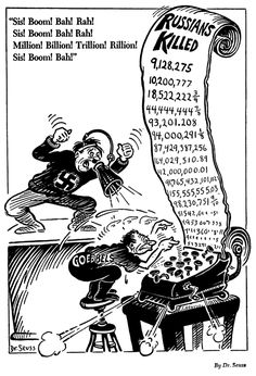 """For all those who claim that Stalin killed countless people, Dr. Seuss knew it was Nazi propaganda. Now you see ""leftists"" in the US regurgitate this shit. History Education, History Teachers, Political Satire Cartoons, Classroom Images, Nazi Propaganda, History Images, Funny Cartoons, Cartoon Humor, Poster Ads"