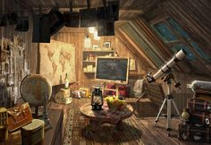 Secret hideout, Lee b on ArtStation at https://www.artstation.com/artwork/secret-hideout