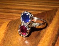 Beautiful Blue Sapphire, Red Ruby and Old European Cut Diamond Antique Ring with Intricate Platinum Filigree